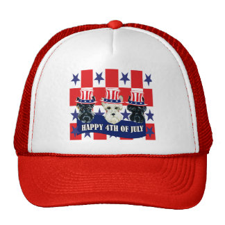 Scottish Terriers 4th of July Mesh Hat