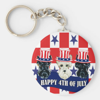 Scottish Terriers 4th of July Keychains