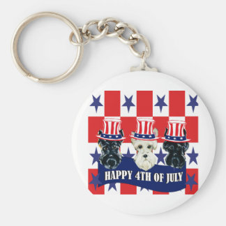 Scottish Terriers 4th of July Keychain