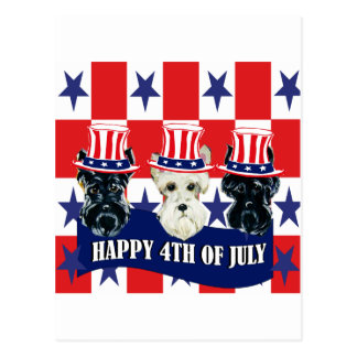 Scottish Terriers 4th of July Postcard