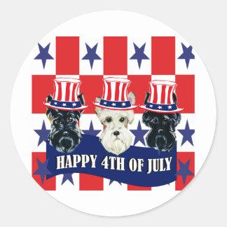 Scottish Terriers 4th of July Round Sticker