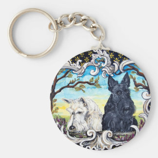 Scottish Terriers and Frog Basic Round Button Key Ring