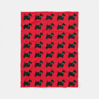Scottish Terriers and Holly Fleece Blanket
