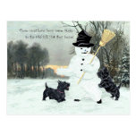 Scottish Terriers Build a Snowman Post Cards