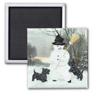 Scottish Terriers Build a Snowman Square Magnet