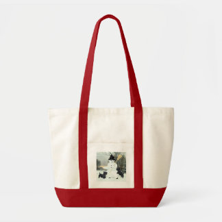 Scottish Terriers Build a Snowman Tote Bag