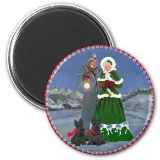 Scottish Terriers Christmas Carol 6 Cm Round Magnet