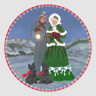 Scottish Terriers Christmas Carol Classic Round Sticker