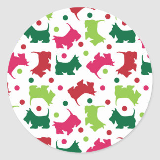 Scottish Terriers Christmas Pattern Classic Round Sticker