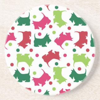 Scottish Terriers Christmas Pattern Coaster