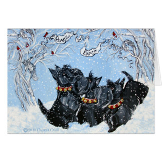 Scottish Terriers in the snow Greeting Cards