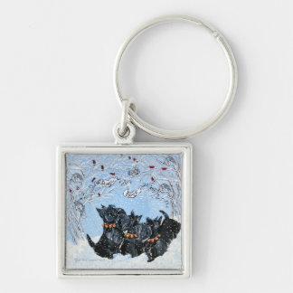 Scottish Terriers in the snow! Key Ring