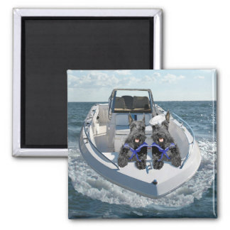 Scottish Terriers on the Boat Square Magnet
