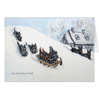 Scottish Terriers Sledding Greeting Cards