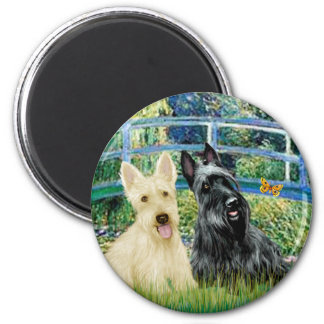 Scottish Terriers (two-BW) - Bridge 6 Cm Round Magnet