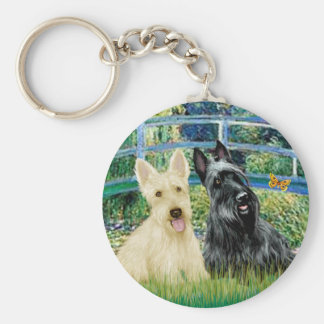 Scottish Terriers (two-BW) - Bridge Key Ring