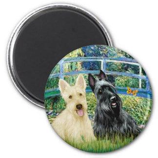 Scottish Terriers (two-BW) - Bridge Magnet