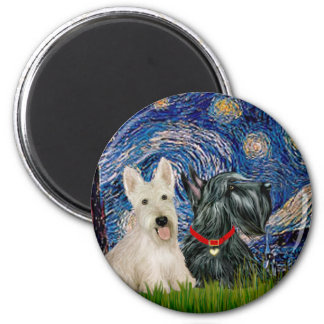 Scottish Terriers (two-BW) - Starry Night 6 Cm Round Magnet