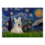 Scottish Terriers (two-BW) - Starry Night Poster