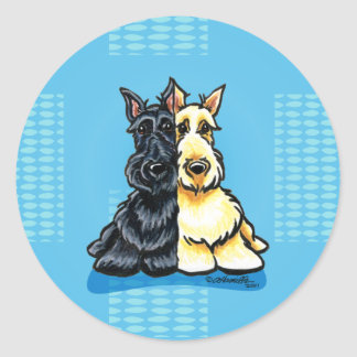 Scottish Terriers Two of a Kind Classic Round Sticker