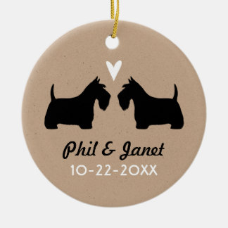 Scottish Terriers with Heart and Text Christmas Ornament