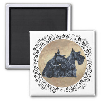 Scottish Terriers with Thistles Square Magnet