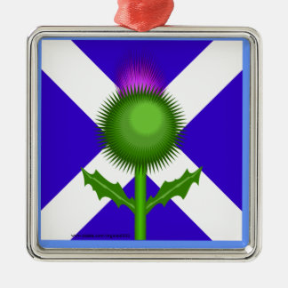Scottish Thistle and Flag Silver-Colored Square Decoration