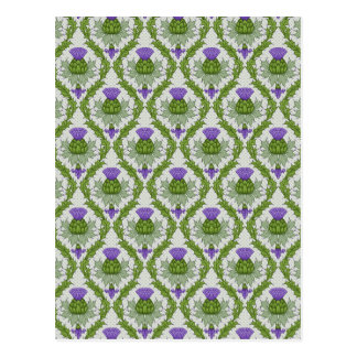 Scottish Thistle Damask Postcard
