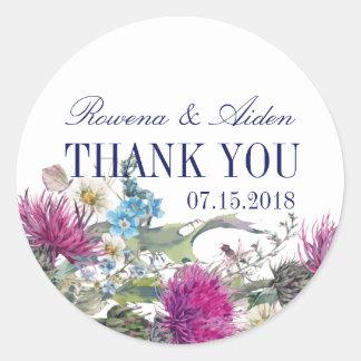 Scottish Thistle Floral Wedding Thank You Classic Round Sticker