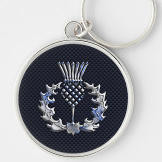 Scottish Thistle in Chrome Style Key Ring