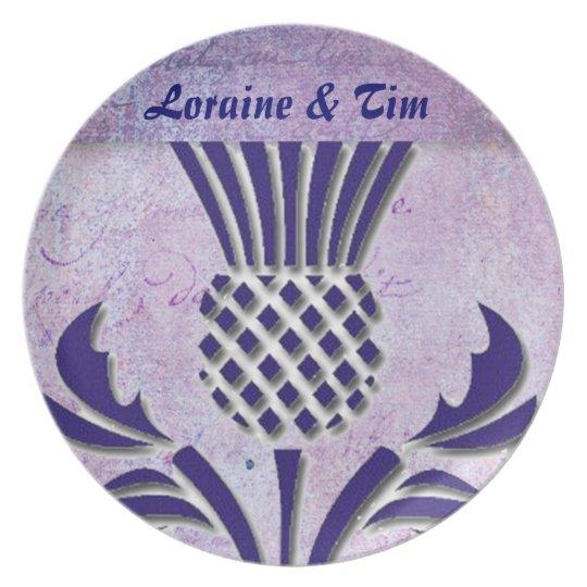 Scottish thistle in deep purple plate