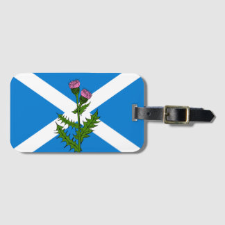 Scottish thistle luggage tag
