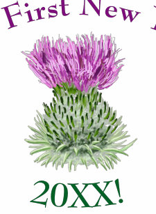 scottish thistle my first new year greeting baby bodysuit