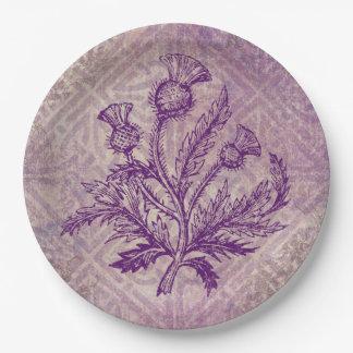 Scottish Thistle Purple Celtic Knot 9 Inch Paper Plate