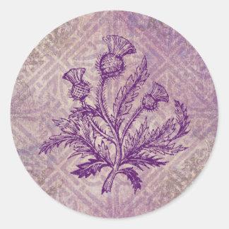 Scottish Thistle Purple Celtic Knot Classic Round Sticker