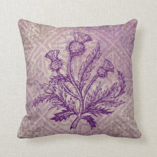 Scottish Thistle Purple Celtic Knot Cushion