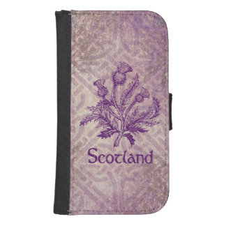 Scottish Thistle Purple Celtic Knot Samsung S4 Wallet Case