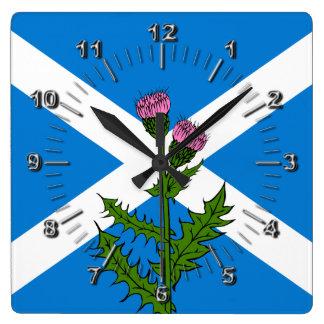 Scottish thistle square wall clock