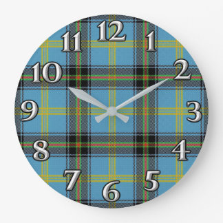Scottish Time Accents Clan Bell Tartan Large Clock