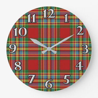 Scottish Time Accents Clan Chattan Tartan Large Clock