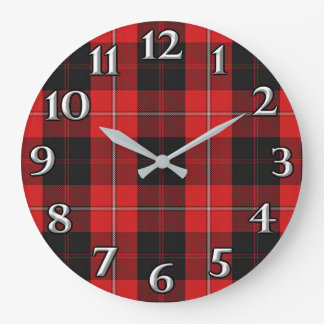 Scottish Time Accents Clan Cunningham Tartan Large Clock