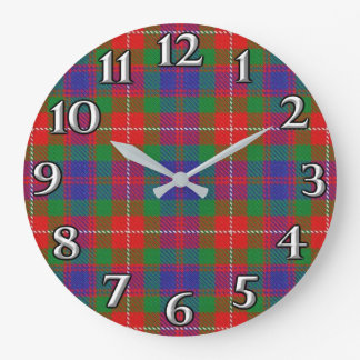 Scottish Time Accents Clan Fraser of Lovat Tartan Large Clock