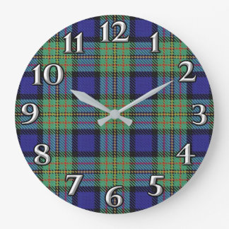 Scottish Time Accents Clan MacLaren Tartan Large Clock