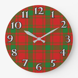 Scottish Time Accents Clan MacQuarrie Tartan Large Clock