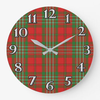 Scottish Time Accents Clan Scott Tartan Large Clock