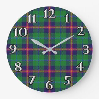 Scottish Time Accents Clan Young Tartan Large Clock