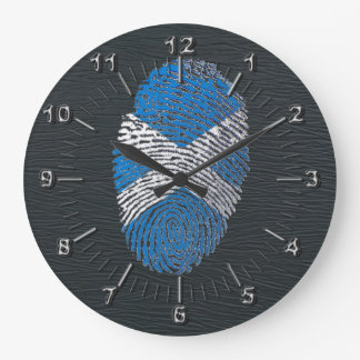 Scottish touch fingerprint flag large clock