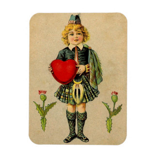 Scottish vintage Valentine and red heart Rectangular Photo Magnet