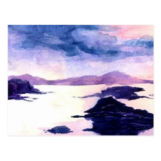 Scottish Watercolour Purple Landscape Postcard