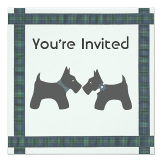 Scottish Wedding with Tartan Theme 13 Cm X 13 Cm Square Invitation Card